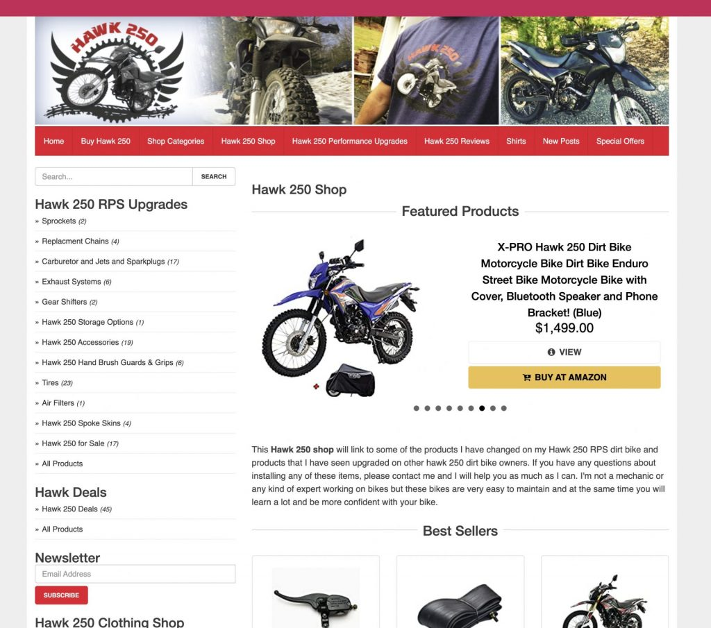 Hawk 250 Store Screenshot